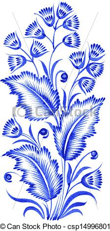 Vector Clipart of blue flower composition.