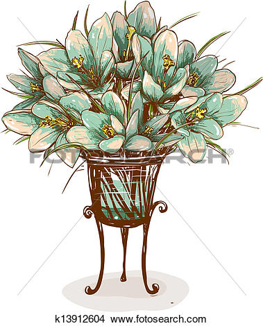 Clipart of Vintage Flowers in Vase Composition k13912604.
