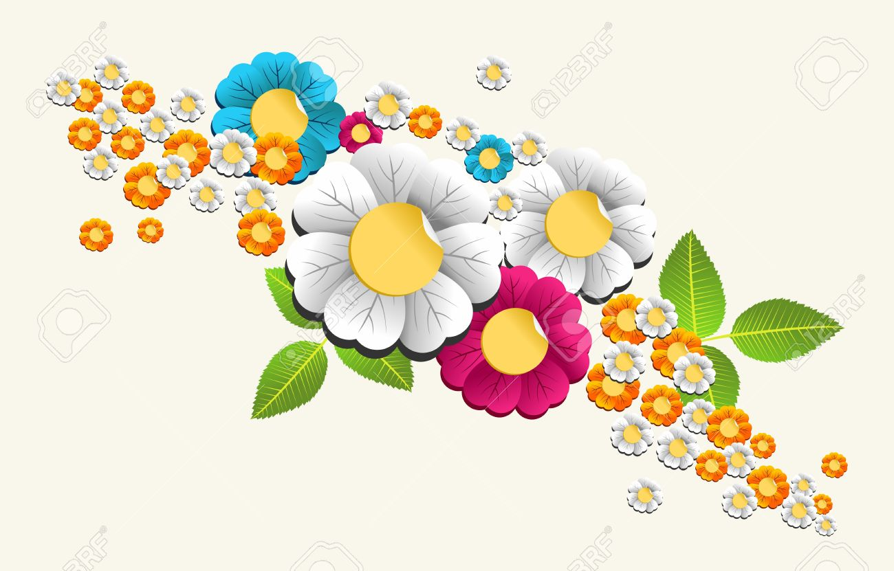 Colorful Spring Flower Composition Background Illustration Layered.