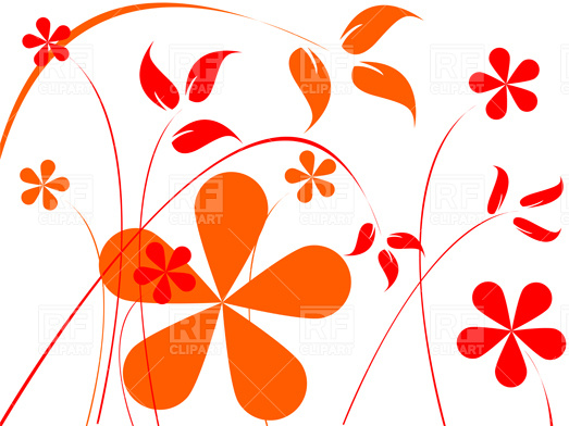 Orange and red flowers composition Vector Image #3524.