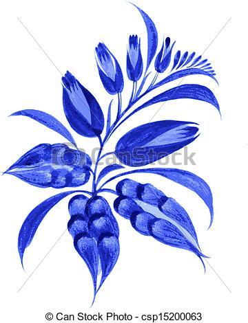 Clip Art Vector of blue flower composition.