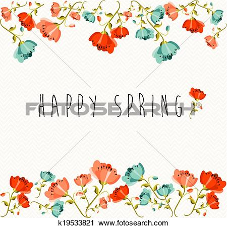 Clipart of Happy Spring flower composition k19533821.