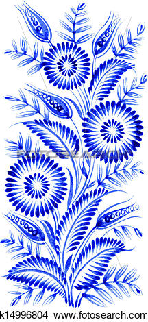 Clipart of blue flower composition k14996804.