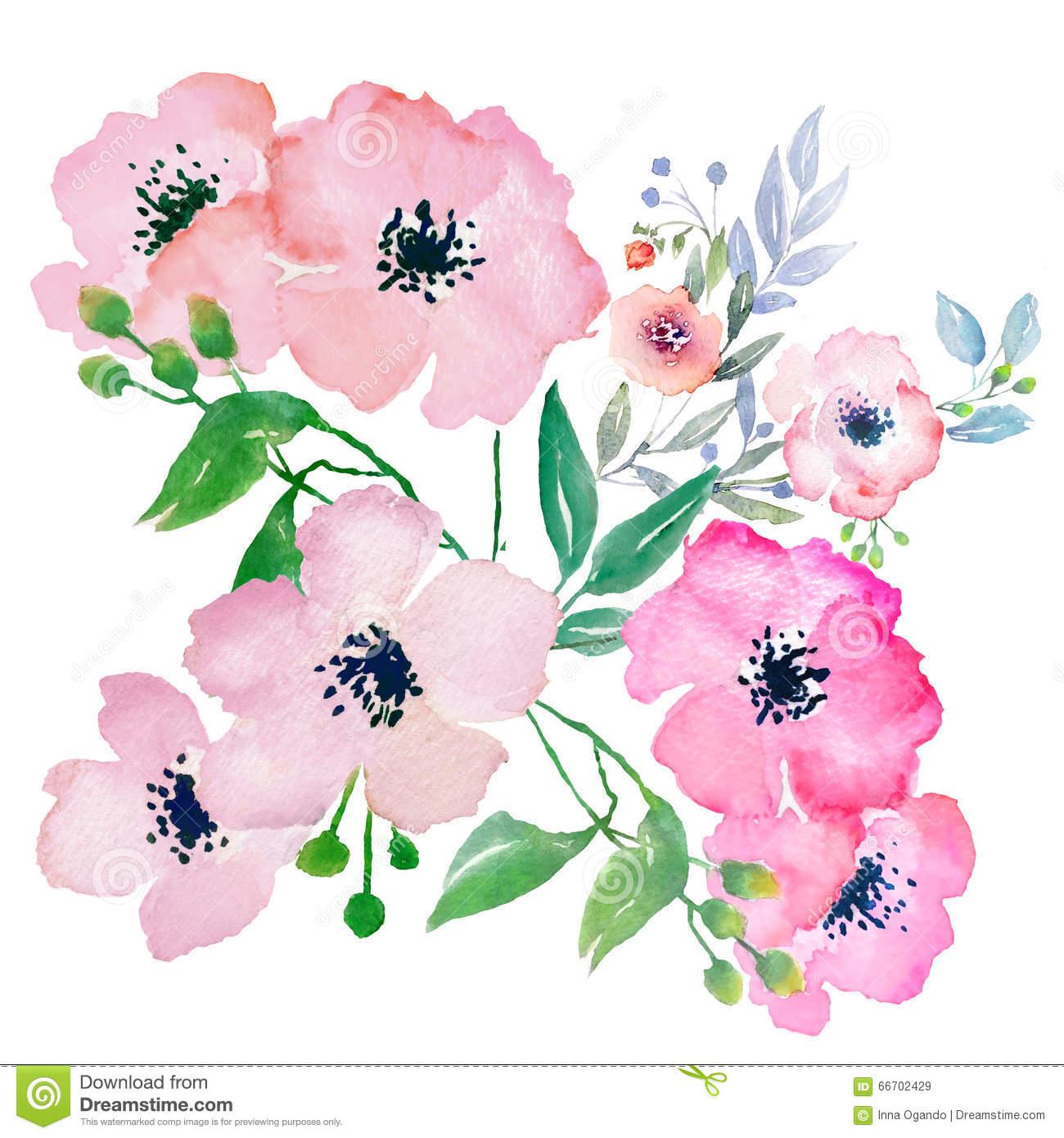 Watercolor Flowers, Clip Art Stock Illustration.