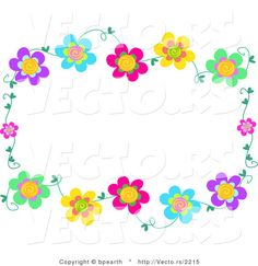Double rows of flowers in a full frame border clip art or.