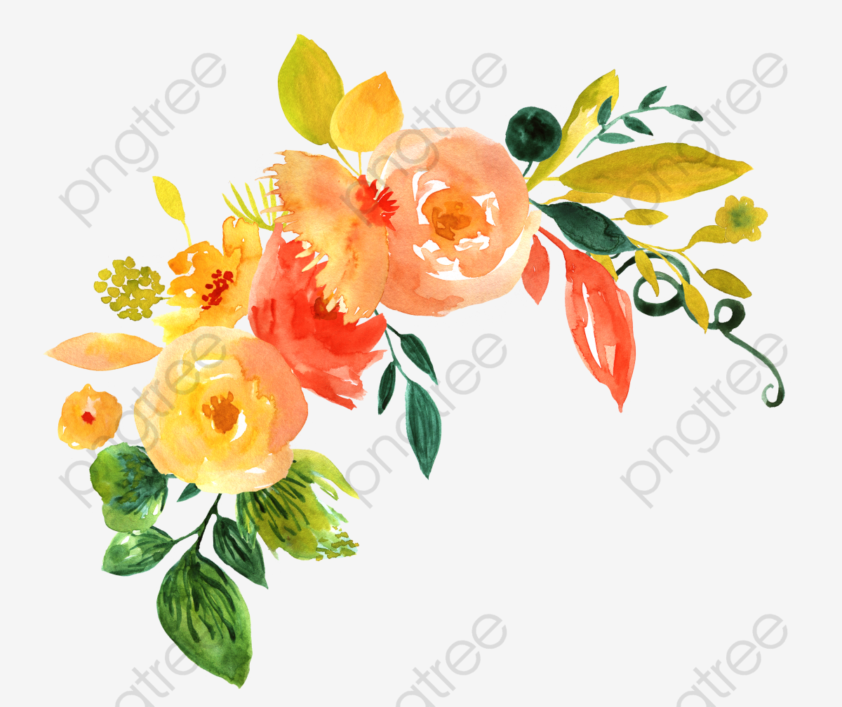 Hand Painted Watercolor Flower Decoration Pattern, Watercolor.