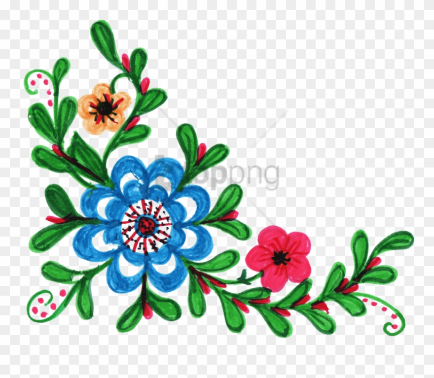 Free Png Colorful Floral Corner Borders Png Png Image.