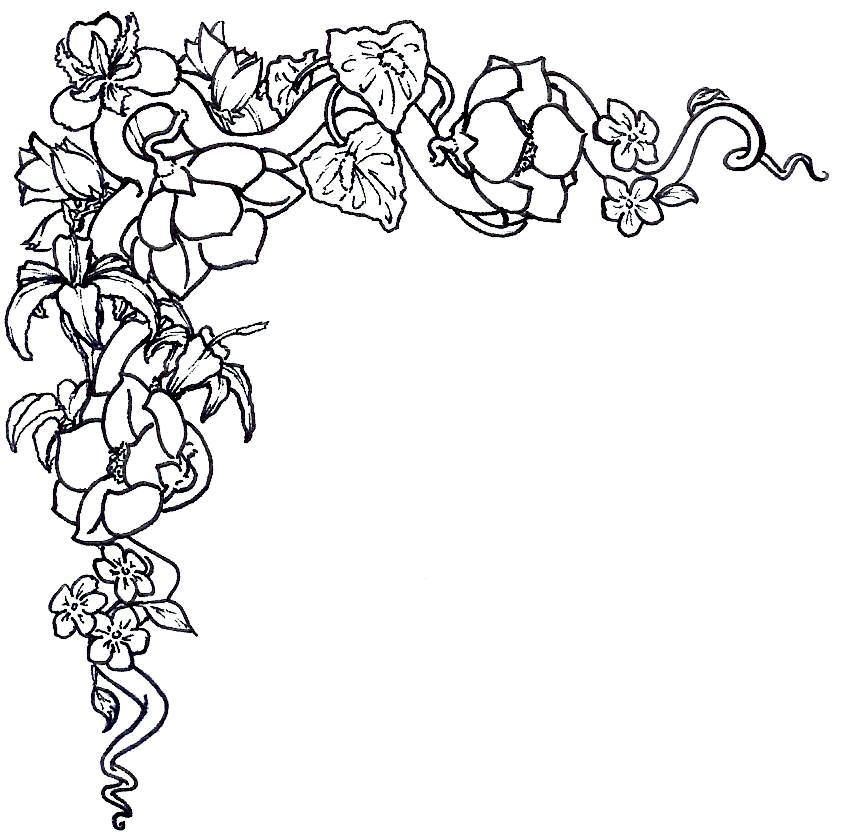 floral border clipart black and white #4