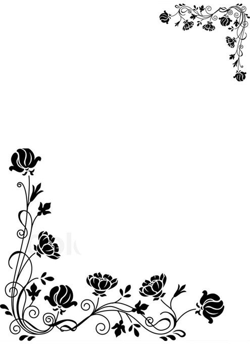 flower borders black and white.