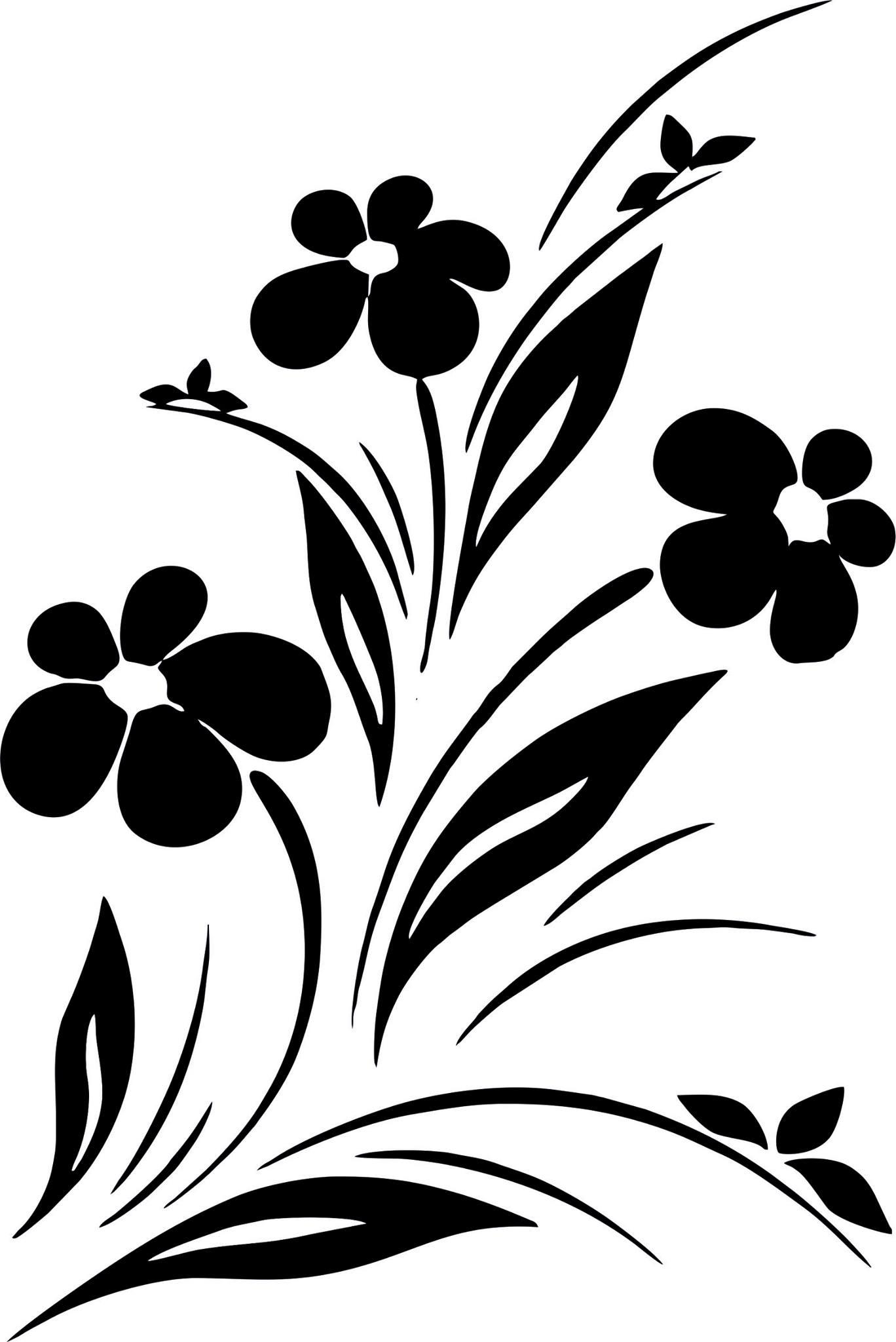 Simple Flower Designs Black And White Vector Art jpg Image.