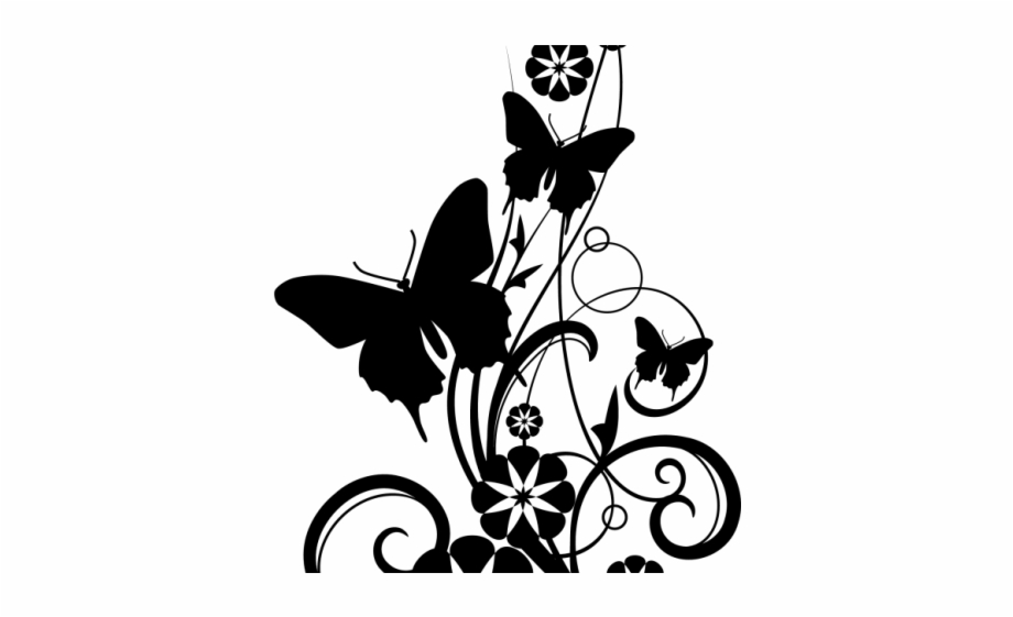 Flower Design Border Black And White.