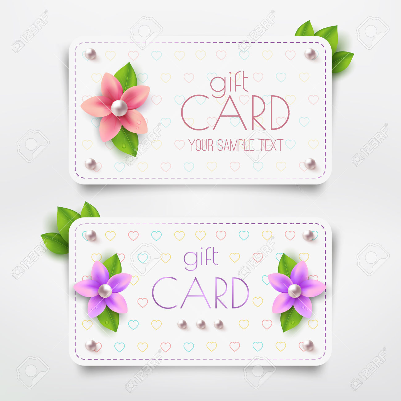 Gift Card Template With Flower, Pearl. Vector Discount Card.