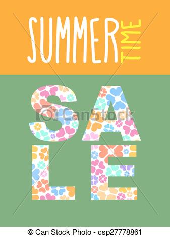 Clip Art Vector of Summer sale. Vector template for flyers. font.