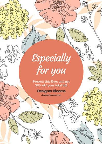 Crafty Designer Flowers Discount Flyer.