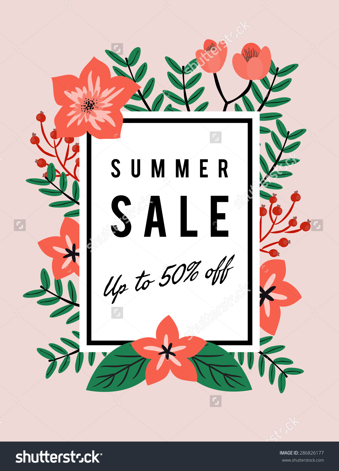 Summer Sale Discount Promotion Banner Template Stock Vector.