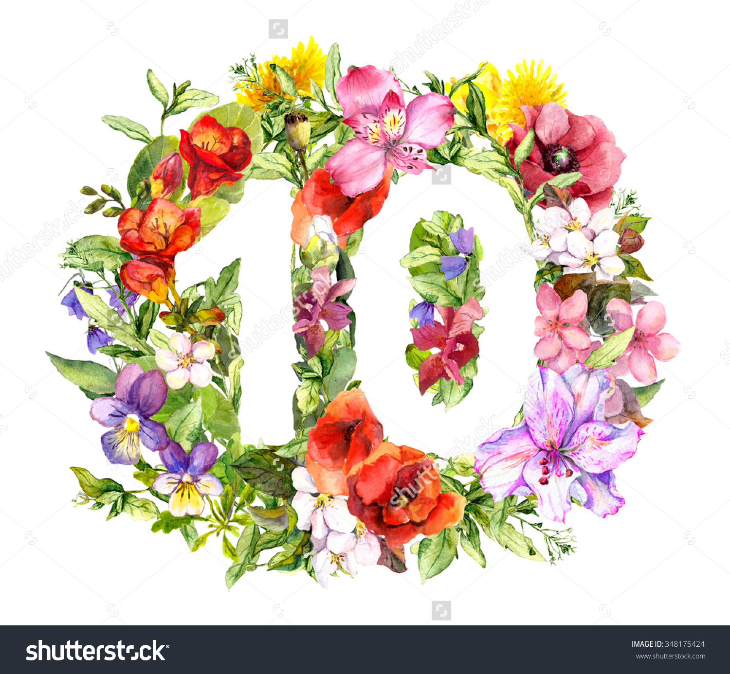Floral Number 10 Ten Bright Flowers Stock Illustration 348175424.