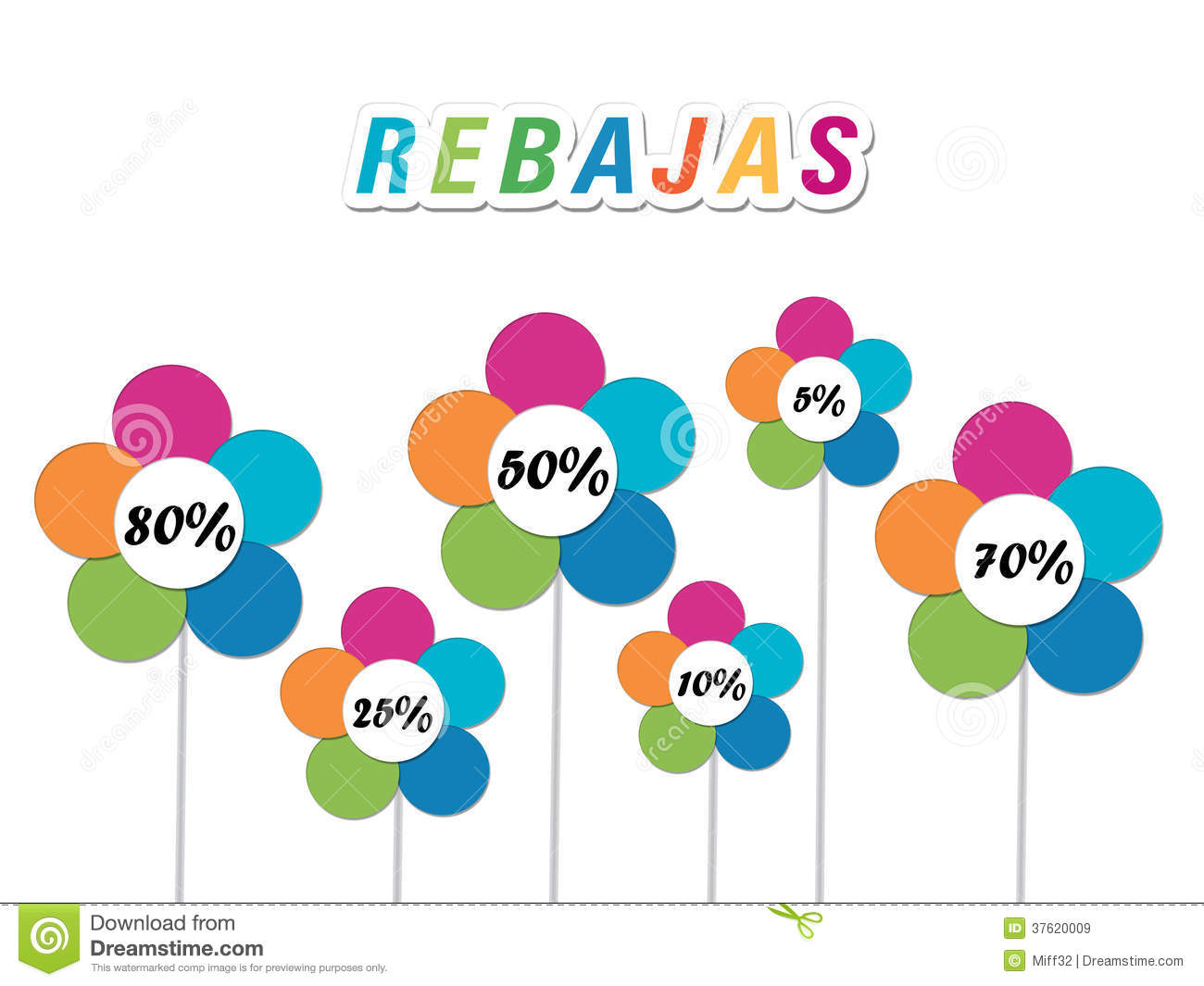 Colorful Labels And Flowers With Discounts Royalty Free Stock.