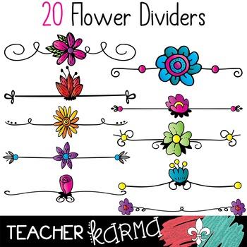 Flower Dividers Clipart #1 * Spring & Summer Borders.