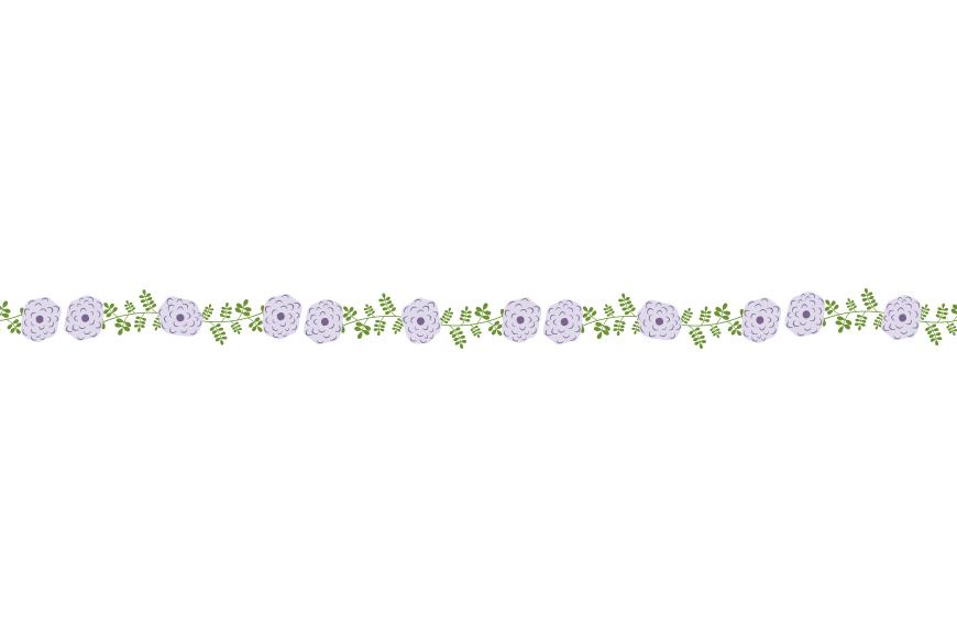 Violet flower border clipart, Mint elegant floral border, Divider garland.