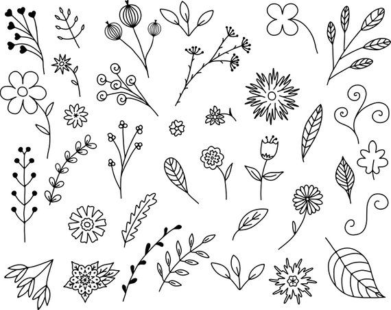 35 Floral Doodles Vector Pack, Hand Drawn Doodle Clipart ,Leaves and.