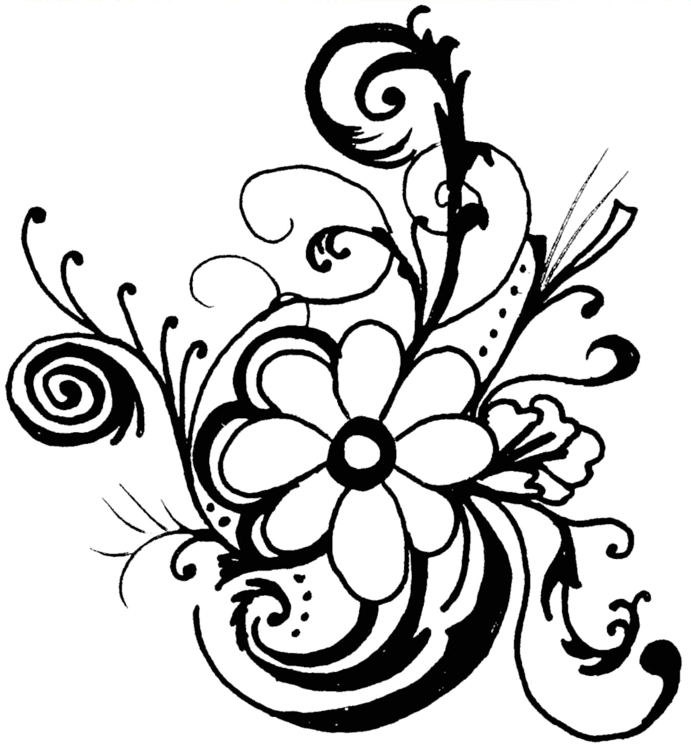 flower drawing clipart #1