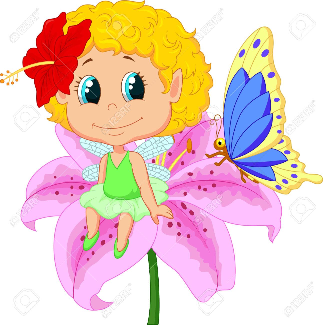 Baby Fairy Elf Cartoon Sitting On Flower Royalty Free Cliparts.