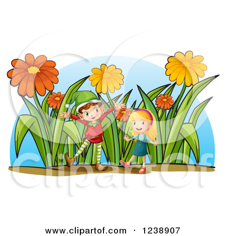 Clipart of a Christmas Elf and Girl in a Giant Flower Garden.