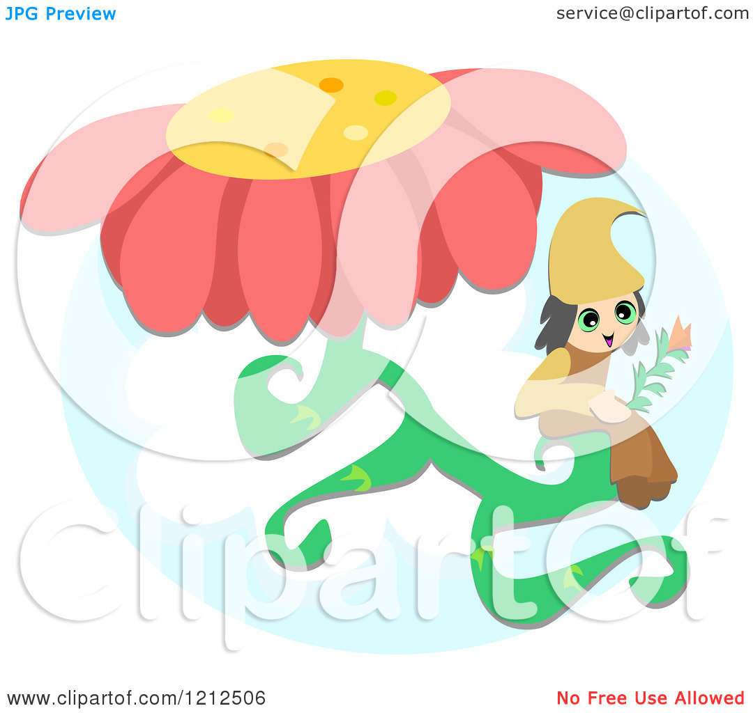 Cartoon of a Little Elf on a Flower Stem.
