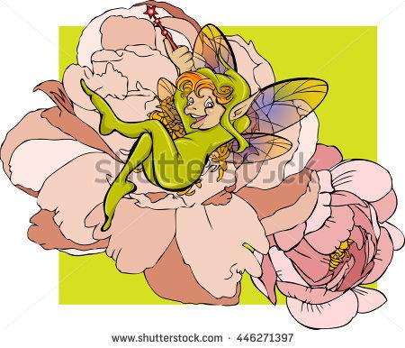 Funny Cartoon Flower Elf. Vector Illustration..