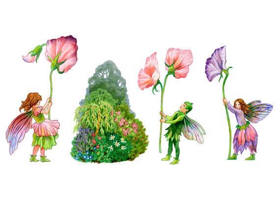 Garden Fairies and Elves Watercolour Clip Art by WatercolourWay.