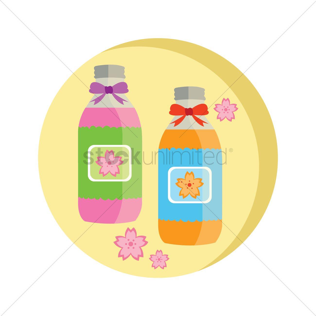 Flower essence bottles Vector Image.