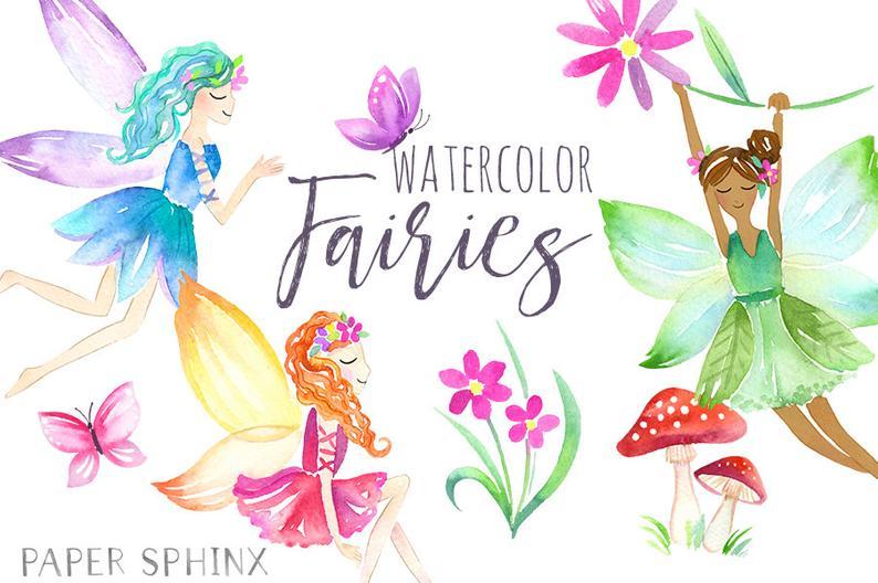 Watercolor Fairies Clipart.
