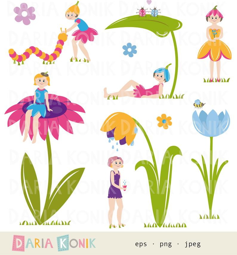 Flower Fairy Clip Art Set.