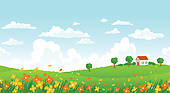 Clip Art of Sunny day seamless landscape with house on a hill and.