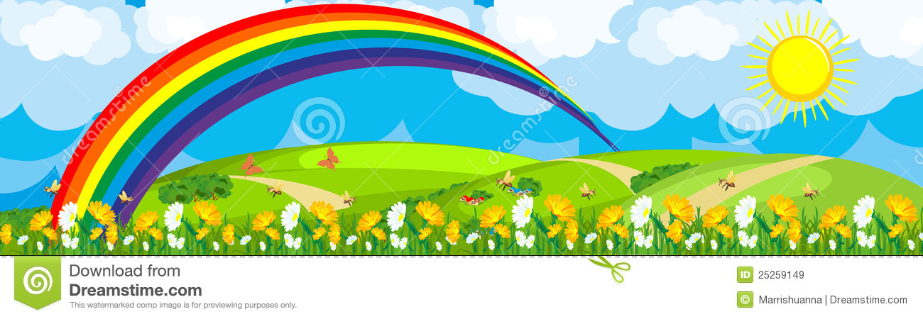 Rainbow Over The Flower Field Royalty Free Stock Images.