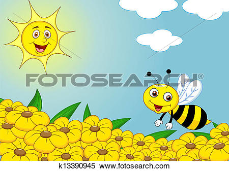 Clipart of Happy bee on the flower field k13390945.