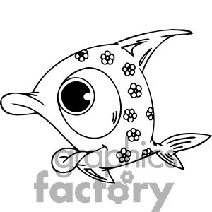 Fish with big eys and flowers in its body.