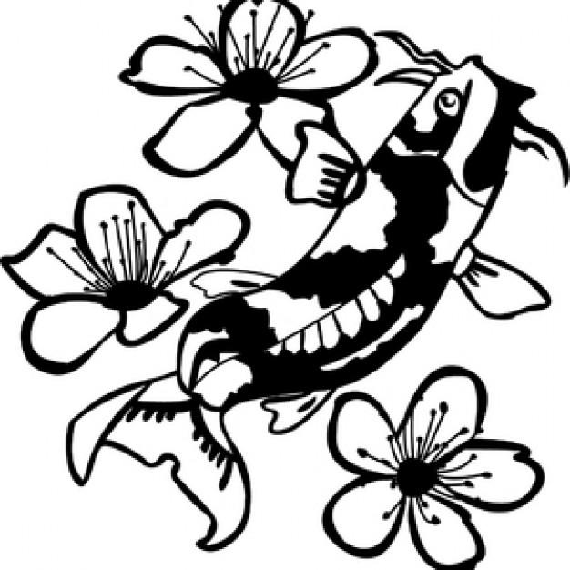 Koi Fish Among Flowers Vector.