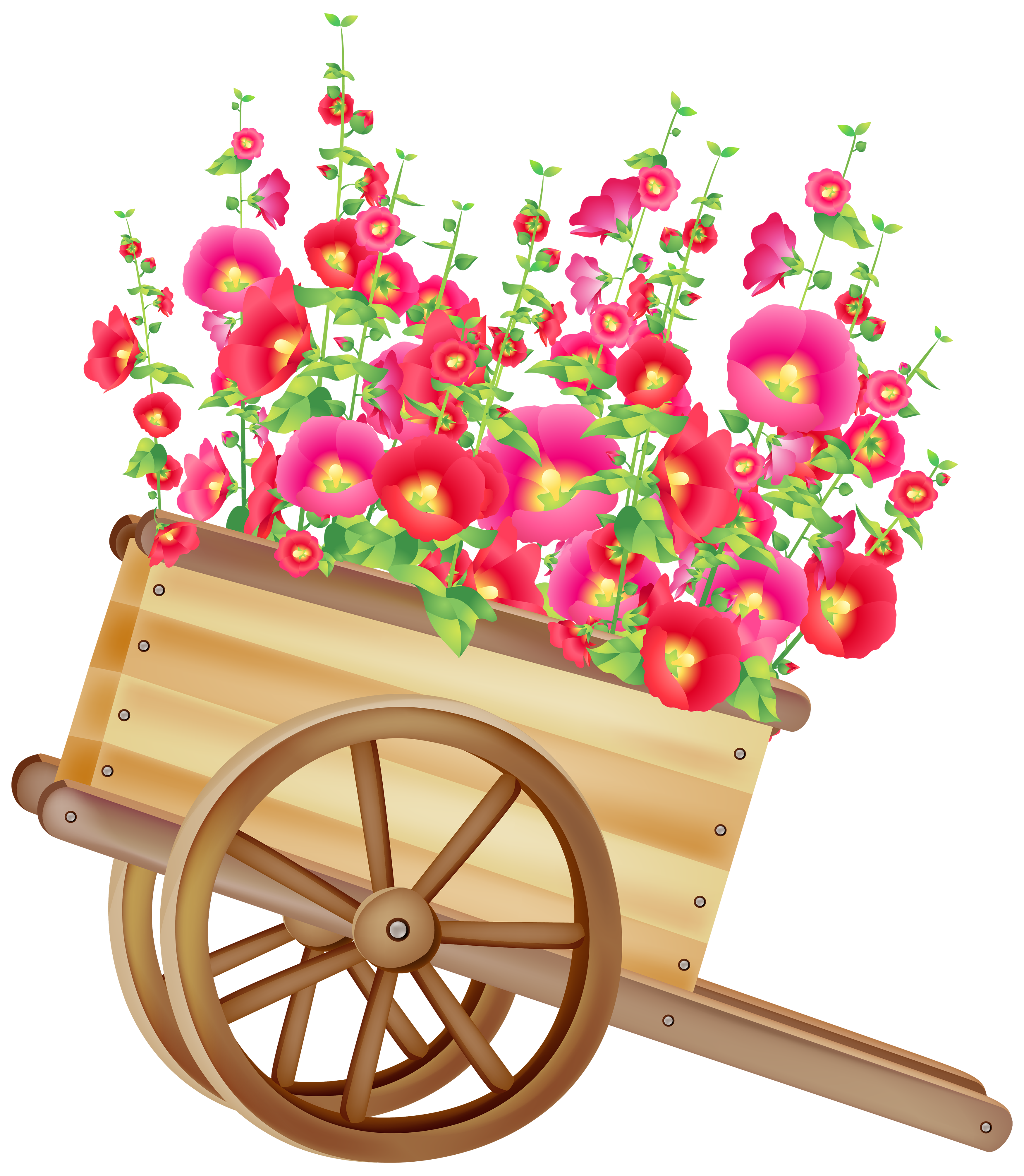 Wheelbarrow with Flowers PNG Clipart.