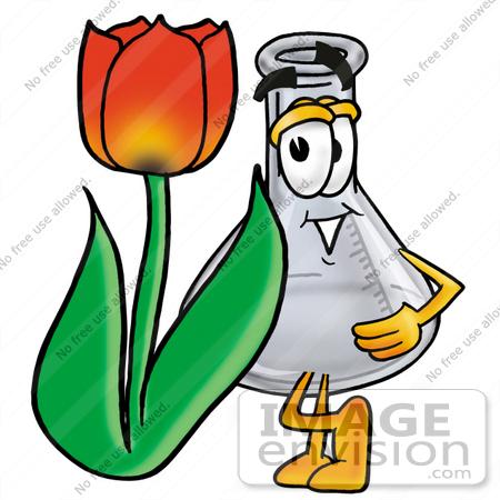 Clip art Graphic of a Beaker Laboratory Flask Cartoon Character.