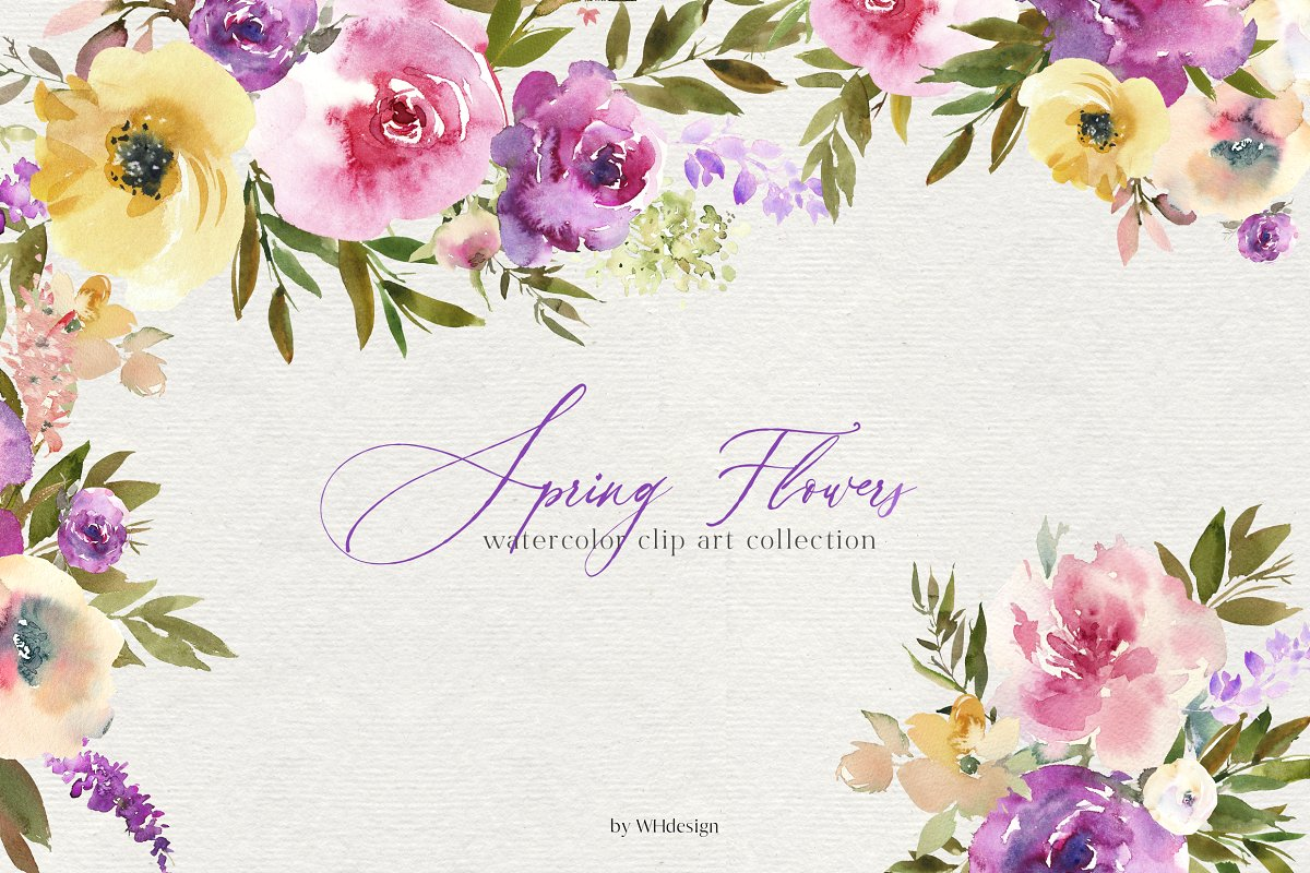 Spring Flowers Watercolor Clipart.