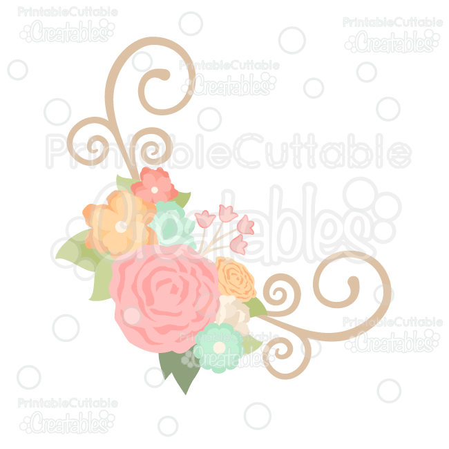 Spring Flower Flourish Corner SVG Cut File & Clipart Silhouette.