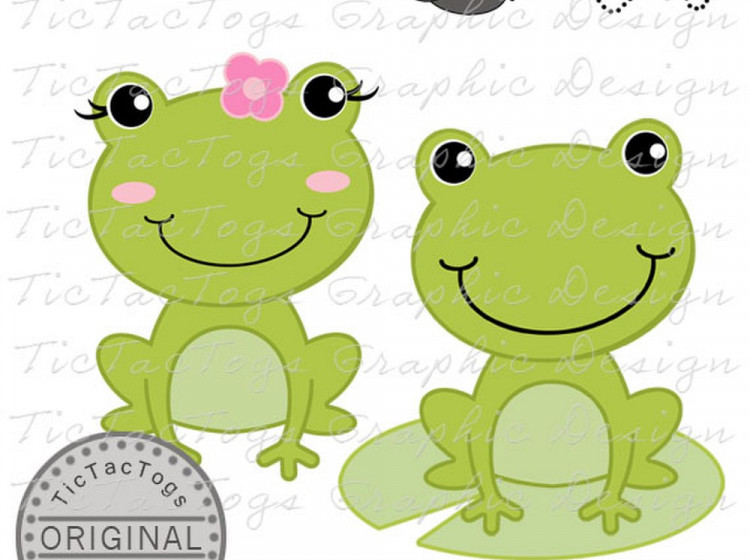 Frog Clip Art, Frog Digital Clipart, Flower Fly lily Pad Girl Boy.