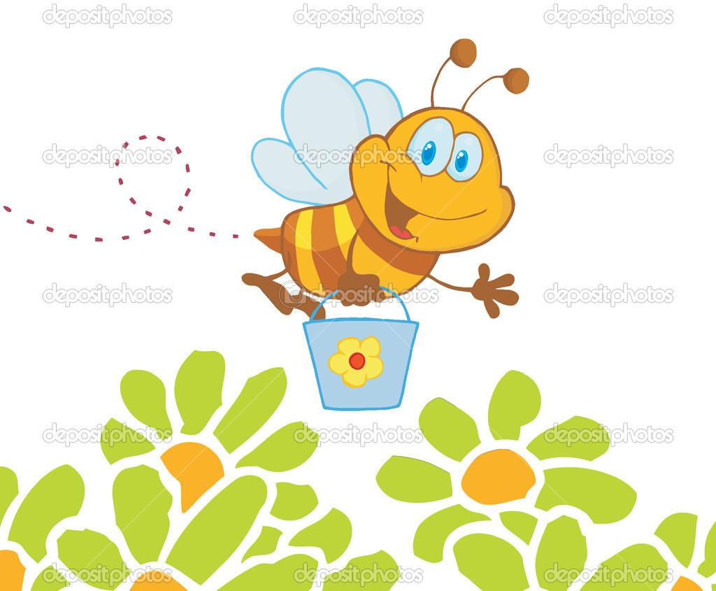 Cartoon Character Bee Flying Bucket In The Flowers — Stock Photo.