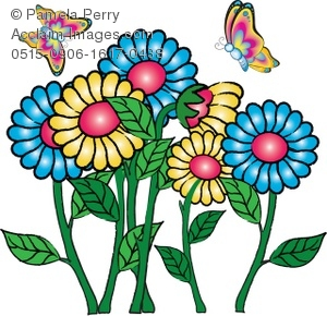 Clip Art Illustration of Butterflies Flying Around Flowers.
