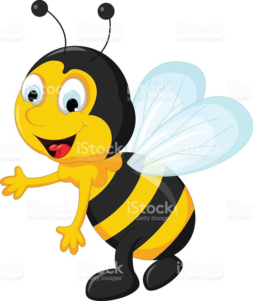 Happy Bee Cartoon Flying stock vector art 533863268.