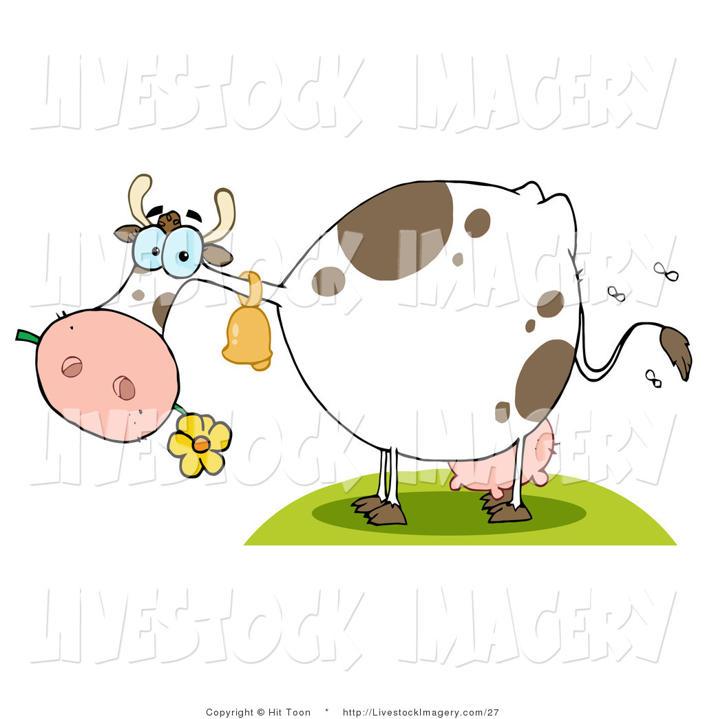 Clip Art of Flies Buzzing Around a Farm Cow Eating a Flower by Hit.