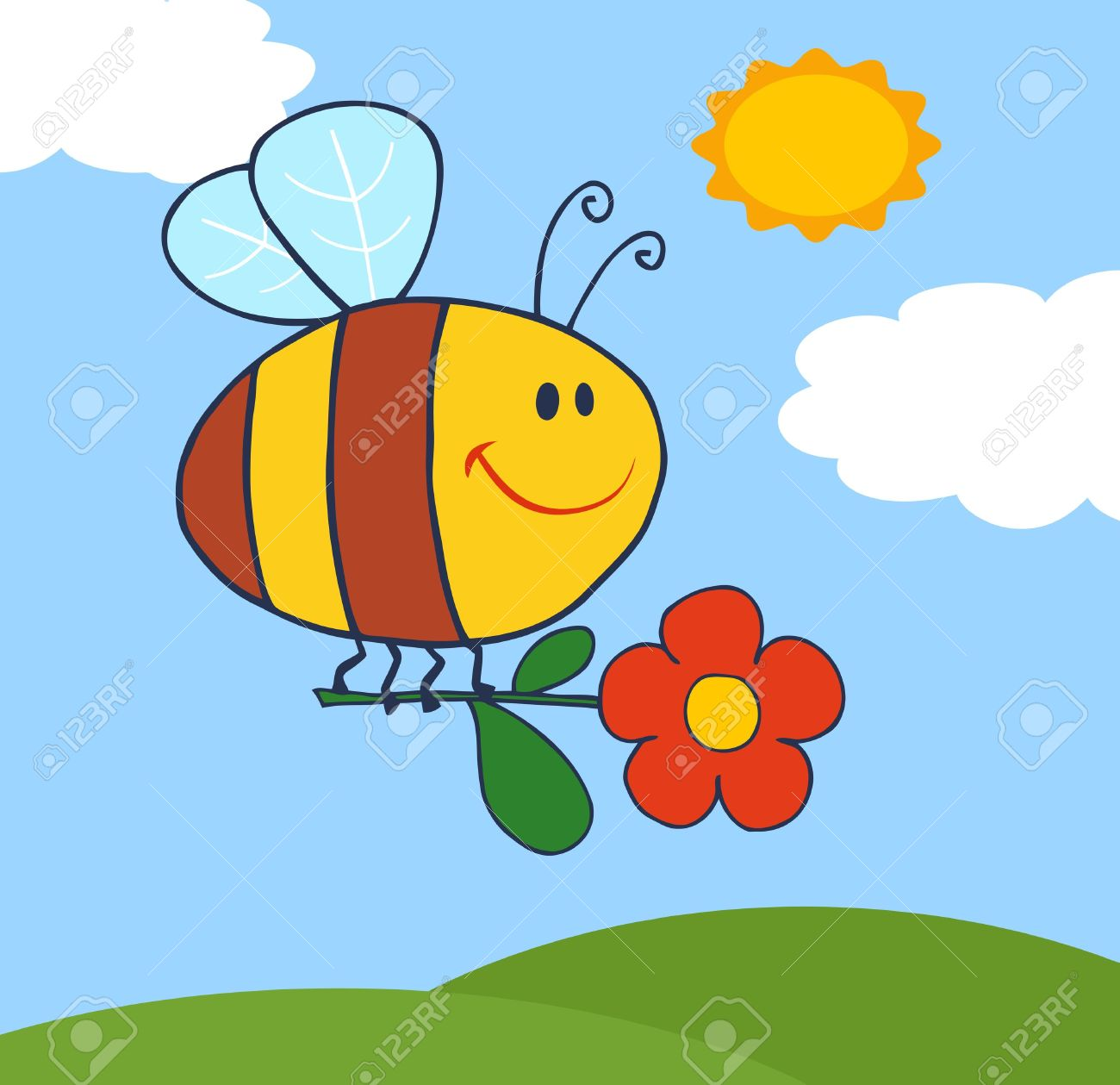 Happy Bee Flying With Flower In Sky Royalty Free Cliparts, Vectors.