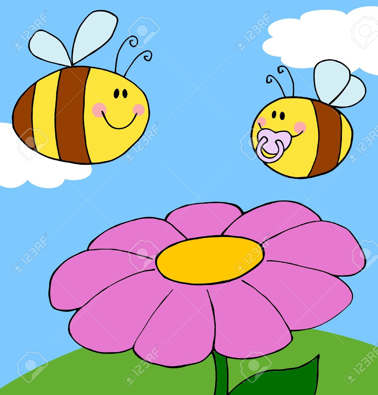 Mother Bee Flying With Baby Bee Over Flower Background Royalty.