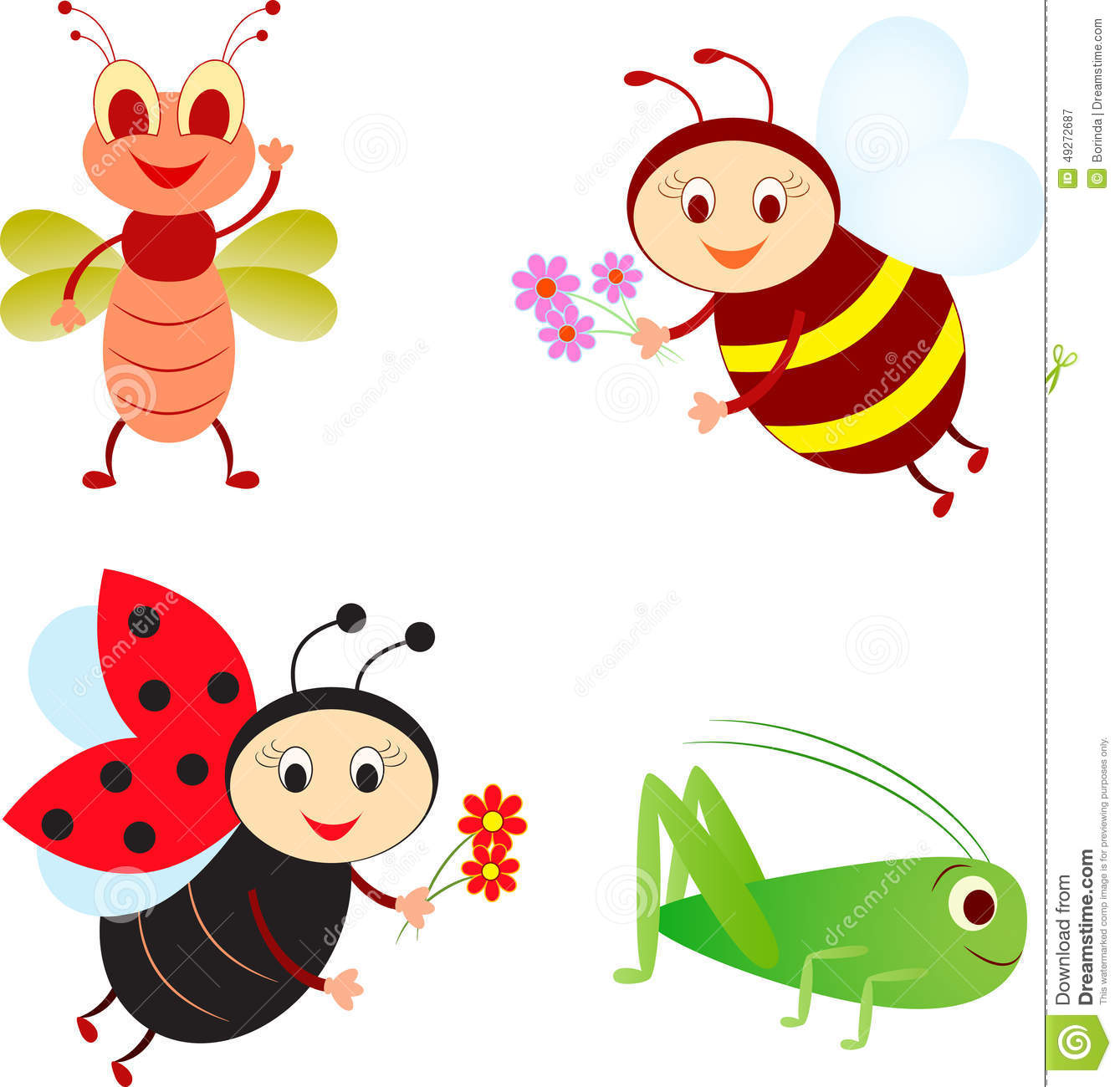 Isolated Insect Illustrations, Bee, Ladybug, Grasshopper, Fly.